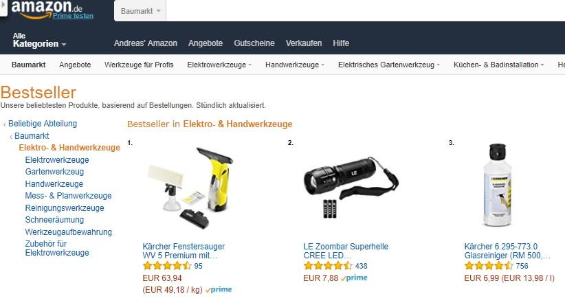 Amazon Bestseller Rangliste